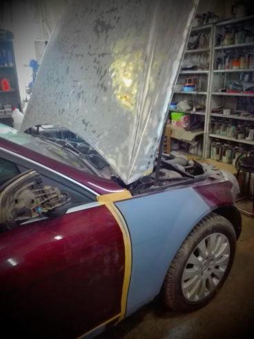 Mercedes C-class С230 ремонт покраска бампера, крыла, капота.